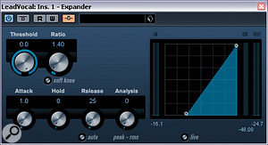In Mike Senior's June 2010 Cubase column, we showed how to simulate the effects of Waves' Vocal Rider using a side-chain-enabled Expander plug-in; we can see part of the process here. This technique automates the vocal to correspond with the level of the backing track: particularly useful for our reader, who is creating tracks that incorporate subliminal messages.
