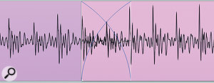 One of the trickiest places to edit is in the middle of asustained pitched note, but you can often get surprisingly good results as long as you make sure to line up the waveforms as closely as possible through the crossfaderegion.