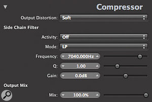 The Advanced Settings panel in Logic's built-in Compressor plug-in contains side-chain equalisation facilities that can be very useful if you're trying to sensitise (or desensitise!) the compressor to a mandolin's picking transients.