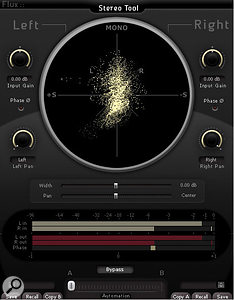Flux Audio's Stereo Tool is the pick of the freeware stereo vectorscope displays currently available, and can help you head off mono-compatibility problems,especially if you're working on headphones.