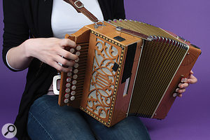 Accordions produce sound from two places — on most models from 'treble' and 'bass' ends — so it's important to recognise this when miking and set two microphones either side and slightly forward of the instrument.
