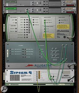 The back of Reason 6's virtual rack, with its audio and modulation cabling, is still one of its most distinctive and powerful features.