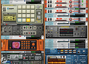 The three main components of Reason's interface: the virtual rack, stuffed full of bundled devices (left), and the sequencer and mixer, shown tiled in asingle window (above).