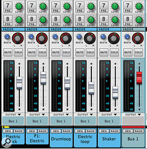 New bus channels in Reason 7 — you can see one here with its distinctive red fader — make mixing easier and let you easily apply insert effects to a group of channels. Also check out the 'Electric Kick' track, with its Parallel channel neighbour.