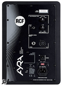 The Ayra 5's back panel, which hosts its balanced and unbalanced input sockets, and controls for setting the input gain and HF level.