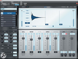 The waveform display shows a  composite impulse response calculated from all the active elements of the Rematrix patch. Clicking on an individual element brings up its own editing parameters in the window to the left.