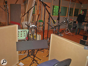 Here's a  photo of The Goat Rodeo Sessions studio setup taken from just behind Yo-Yo Ma's seating position. The microphones you can see above the music stand are the close-spaced pair of DPA 4006 omni microphones Richard King preferred for the cello sound.