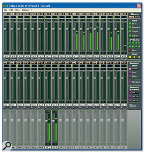 The software mixer provides a visual overview and control of all the Fireface 400's 36 input and output channels.