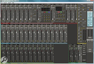 The TotalMix FX software with the EQ and Dynamics windows open at the top of the screen.