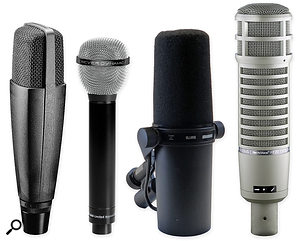 Classic dynamic mics such as the Sennheiser MD421, Beyerdynamic M88, Shure SM7B, and Electro-Voice RE20 are tremendous value for money, and a  great way of expanding your palette of sounds while tracking.