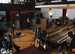 Despite the loss of acoustic isolation, there are considerable benefits to setting up your recording system in the recording room, particular in terms of easy communication between engineer and performers during takes. Indeed, some celebrated commercial studios, such as The Church's Studio 1 shown here, make a virtue of just such a  layout.
