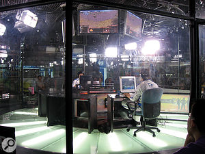 A televised Starcraft match in South Korea.