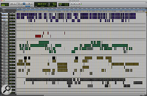Better macro‑management: a well organised Pro Tools Session. Notice the track naming patterns, grouping, and use of Markers.