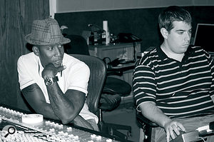 Raphael Saadiq (left) and engineer Charles Brungardt at Blakeslee Studios during the sessions for The Way I See It.