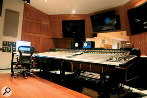 The control room at Blakeslee houses an SSL 9000 desk.