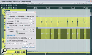 The recently added Dynamic Split window simultaneously provides automatic beat‑slicing, MIDI triggered drum‑replacement, and silence removal. This screenshot shows it previewing how the audio will be split as aresult of its control values, so that you can refine the settings accordingly.