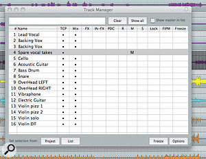 Using the Track Manager window, a track containing spare vocal takes is hidden from the mixer by clicking in the  'Mix' column, and then muted. Freeze options are accessible via the button at the bottom right of the window.