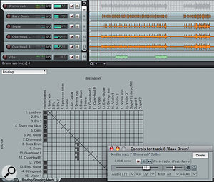 The top part of this image shows my four drum tracks placed in a folder track that is governed by the submix track. Below, the Routing Matrix is used to un-assign the same tracks from the Master bus and redirect them to the 'Drums Sub' track to create a submix. A right-click on the specific routing reveals parameters for the send; in this case, it is post fade.
