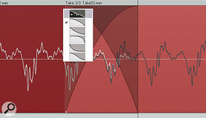 In this screen, the boundaries of the two Items have been dragged to overlap, and the contents of the later Item slid over the earlier one to achieve the best match of the two waveforms. The crossfade type I'm going to choose is astraight, equal-gain one, to replace the one that's been inserted by Reaper as a default.