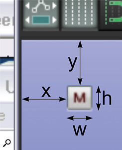 I've annotated this screen to show how the first four numbers (referred to as 'x', 'y', 'w' and 'h' in the WALTER script) of aUI Element's Coordinate List configure its basic position and size. I've chosen to use the Mute button here, but it's fundamentally the same for any of the controls.