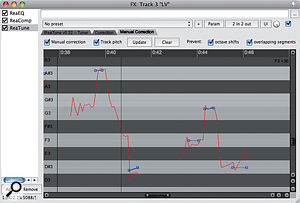 4. Manual correction being applied by drawing in blue 'segments' over the real-time pitch analysis.