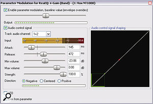 This screen shows the control settings used to blend together the instruments used on Blues01.rrp.