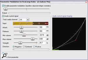 Here we can see the parameter modulation settings used to control acompressor ratio.