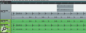 Copying the kick, snare and tom fills to aseparate 'Dummy' track (grey), makes it easier to split them when it's time to use Dynamic Split. Choosing 'Show overlapping media items in lanes' will also help to make things clearer.