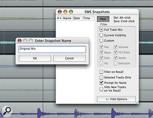 Here, we're creating a snapshot of the full mix, so 'Full Track Mix' is selected. Leaving 'Prompt for Name' selected is a more efficient way to name your snapshots, as Reaper will not then let you create a snapshot without entering a name. The alternative would be to right‑click above the already created snapshot and select 'Rename'.