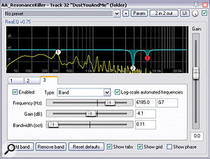 Here you can see ReaEQ in action rebalancing pitched harmonics in an acoustic guitar recording. Notice how the EQ cuts are all very narrow, and that they're not all active simultaneously. This is because their Gain parameters are under automation control.