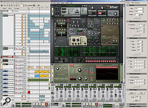 This screen shows nearly everything new that Reason has to offer. Note the individual automation lanes that have been expanded for the ReMix sequencer track. I  snapped this at a  ridiculous screen resolution to give the sequencer a  chance to show off, and to reveal almost all that the Tool Window, right, has to offer.