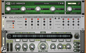 Aside from some of Propellerhead's own devices, there are some really great Rack Extensions out there for stutter-edit and glitch effects. Here we see Slice Arranger, Glitch and Buffre.