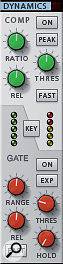 Having acompressor and gate on every channel is one of Reason's most grown-up features. The gate is quite sophisticated, too, with aside-chain input and plenty of parameters to play with.