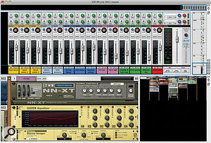Even for amodest mix like this one, clear track names, meaningful mixer channel grouping, awell-ordered rack and lots of colour coding makes life alot easier.