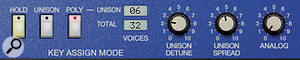 Polysix looks so slight, but sounds so big — in large partbecause of its killer Unison section.