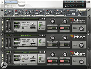 Using a submixer to handle the outputs of related synths or audio tracks is the next bes