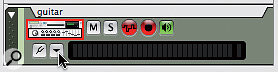 An audio track in the sequencer: the buttons next to the level meter let you choose a hardware input and engage the built‑in tuner. The button above, currently lit green, enables track monitoring.