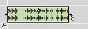 Audio clips can be time‑stretched manually by dragging their resize handles while holding down amodifier key.