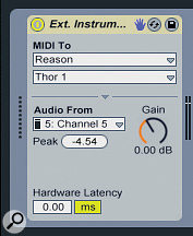 The External Instrument device adds MIDI and audio links between Live tracks and Reason.