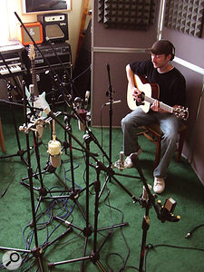 Recording the acoustic guitar, for which the ribbon mics with an extended top end performed well.