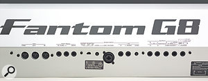 All of the Fantom's audio and MIDI I/O is found on its rear panel. Not shown in this shot are the unit's coaxial S/PDIF connectors and three USB ports for mouse, memory stick and computer connection.