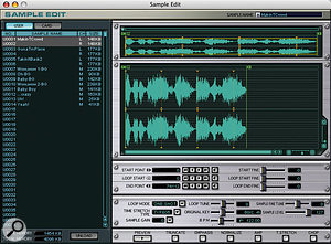 The software editor offers an alternative means of programming the MC808. The Sample Edit screen here, for example, makes it considerably easier to edit waveform data.