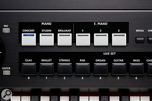 The RD700NX's preset buttons make patch selection quick and easy.