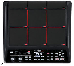 The SPDSX's front panel is designed for ease of use, especially — with its numerous LEDs and red pad-dividing lines — in the low lighting conditions of your average gig.