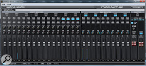 The Studio Capture software's monitor mixer page.