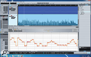 Select an audio event, hit Ctrl-M, and this is what you'll see! The MIDI version of this bass part at the top was created simply by dragging the Melodyned event onto an empty track. The processing can be rendered or bypassed in the channel inspector at the left.