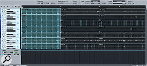 Quantising a multitrack drum recording. Here, I've asked Studio One to refer only t