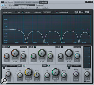 Screen 1: complementary EQ settings in two hard-panned instances of Pro EQ send different frequency bands to each side of the mix.