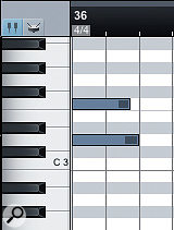 Both of these notes were drawn to the length of the top note using the pencil tool, but Snap was enabled when drawing the bottom note, so its duration got quantised to the nearest quarter note.