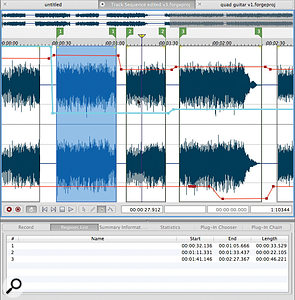 Regions (indicated by the green flags) and Events (the vertical boxes) provide various ways to organise sections within your audio, while an envelope system allow effects parameters to be fully automated.